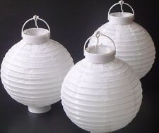 1 x White Hanging Paper Lantern Battery LED Chinese Party Lights 150 hours