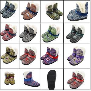 NFL Women's Wordmark Peak Boots Slippers Faux Wool Lined House Shoes