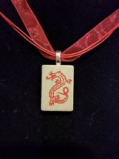 Mahjong red dragon necklace Pendant Vintage Wood Game Tile organza gift bag
