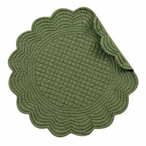 """C&F - 17"""" Round Quilted Pine Green Placemat, Set of 4 (862602231G)"""
