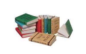 Set 12 Miniature à Titre Livres Qui Ouvert Avec Vide Pages - Maison de Poupées