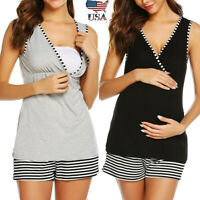 2PCS Women Pregnancy V Neck Sleeveless Top Shirt Nursing Vest+Striped Shorts Set