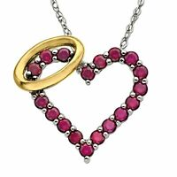"""Created Ruby Angel Heart Pendant in Sterling Silver & 14K Gold, 18"""""""