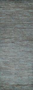 """Contemporary Gabbeh Kashkoli Oriental Runner Rug Solid Handmade 2' 9"""" x 7' 11"""""""