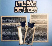 Premade Scrapbook Page Mat Set Lot Little Boys Dirt & Noise Brothers Sewn-Jenn