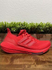 Adidas Ultraboost 21 Vivid Red Running Sneakers FZ1922 Men's size 10.5