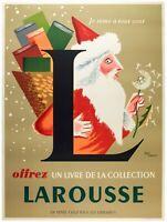 Affiche Originale - Jean Carlu - Larousse - Encyclopédie - Père-Noël - 1953