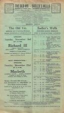 """Laurence Olivier """"MACBETH"""" Emlyn Williams * OLD VIC * 1937 London Broadside"""
