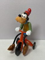Vintage 1977 Goofy Riding a Tricycle Plastic Toy Figure Walt Disney Productions