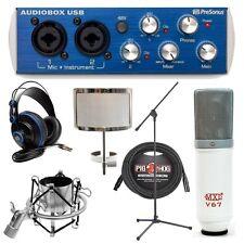 Presonus AudioBox Home Recording Bundle with Custom MXL V67 G Mic & Stand & More