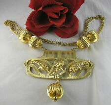 Vintage Huge Gold tone Beaded Necklace Feral Cat Rescue