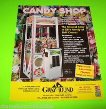 Grayhound CANDY SHOP Skill Crane Original NOS Redemption Claw ARCADE GAME Flyer