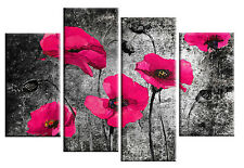 LARGE DEEP PINK BLACK POPPIES GRUNGE  CANVAS CIRCLES WALL PICTURE SPLIT 100CM