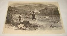 1882 magazine engraving~ Spearing Salmon By Torchlight