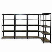 4x 0.9M Black Metal Warehouse Racking Rack Storage Garage Shelving Shelf Shelves