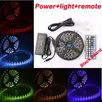 16ft SMD 5050 RGB Multi Color Change LED Light Strip Kit Waterproof Black PCB