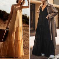 Women Summer Long Maxi Dress Tiered V Neck Sleeveless Plus Size Club Party Dress