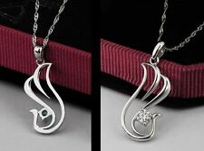 0.25CT Diamond Phoenix Necklace Sterling Silver S925 Chain Love heart gift #0079