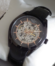 Rotary Men's Automatic GS03630/04 Skeleton Black Plated Swiss Watch RRP £269