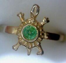 Anillo de plata maciza de ley 925 en forma de tortuga con esmeralda natural