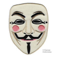 GUY FAWKES MASK iron-on embroidered PATCH ANONYMOUS HACKER V for VENDETTA emblem