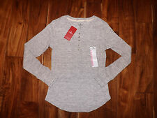 NWT Womens WOOLRICH Heather Gray Thermal Henley Shirt Top Size S Small