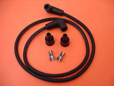 WIRE SET SPARK PLUG 7MM BLACK COPPER CORE HARLEY POINTS IGNITION UNIVERSAL USA