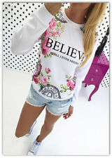 UK Women Believe Print Floral Blouse Long Sleeve Sweatshirts Basic Shirt Tops