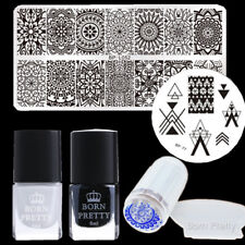 6Pcs/Set BORN PRETTY Nail Art Stamping Plates Polish Stamper & Scraper