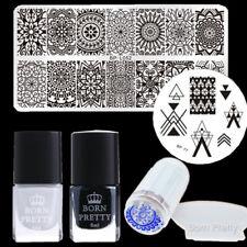 6pcs/set Born Pretty Nail Art Stamping Plates Polish Stamper & Scraper Manicure
