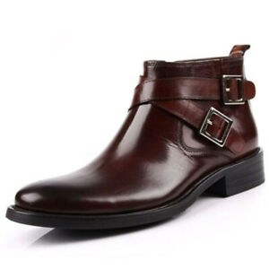 Mens Genuine Leather High Top Ankle Boots Buckle Dress Business Formal Shoes US
