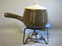 Set of picnic utensils / kerosene stove and stoneware lidded pot