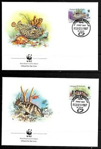1987 Antigua & Barbuda 4 x FDCs featuring fish dated 23 February 1987