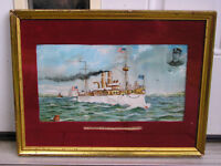 US Maine Havana Sigsbee Antique Spanish-American War Navy Lithograph Print 1898