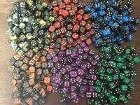 36 x 12mm Oblivion Six Sided Spot Dice Games D6 6 Colours D&D RPG
