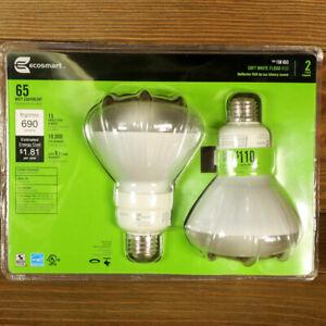 Ecosmart 2 Pack Soft White R30 Flood Light Bulbs, 65W Equivalent SKU 158 653