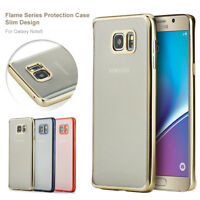 For Samsung Galaxy Note 5 Slim Electroplate Metal TPU Bumper Clear Back Case