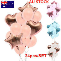 24pcs/set Balloons Latex Wedding Birthday Foil Ballons Kids Boy Girl Party AU KL
