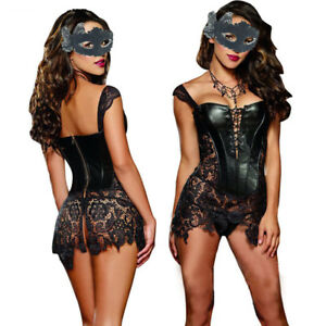Leather Womens Gothic Lingerie Lace up Waist Cincher Shaper Corset Bustier Dress