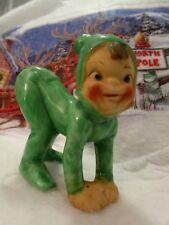 Vintage Ceramic Elf/Pixie Crawling On All 4 Smiling&Behind In Air Xmas Figurine
