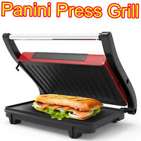 Panini Press Non Stick Grill Sandwich Maker Electric Gourmet Toaster Kitchen Red