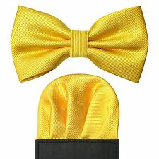 Metallic Dot Detail Pre Folded Pocket Square & Bow Tie Gift Set - Yellow