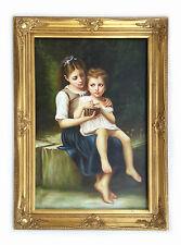 Dipinto Olio su Tela con Cornice - 80x110 cm - Ritratto di Bambine - Quadro