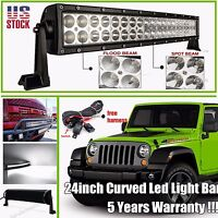 24INCH 120W Curved Led Work Light Bar Flood Spot Driving Offroad 4WD SUV ATV 20