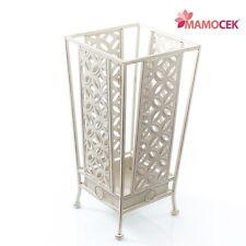 PORTAOMBRELLI quadrato ferro bianco avorio cm.23 h46 metallo Vintage Shabby chic