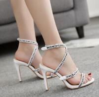 Womens Stiletto Sandals Words White Heels Roma Wedding Vogue Buckle Korean Sz