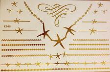 Flash Einmal Temporary Klebe Tattoo Gold 21teile Armband Hals Kette Ring Body E5
