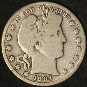 1904-S Barber Half Dollar 553,038 Mintage - Semi-Key Date - Free Shipping USA