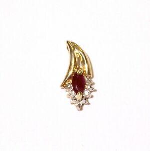 10k yellow gold .02ct SI2 H diamond ruby pendant charm 1g ladies estate