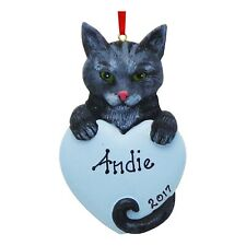 PERSONALIZED Cat Ornament Gray Tabby Kitten Christmas Tree Ornament Holiday Gift